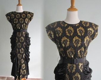 Stunning 80s Lace and Satin Cocktail Dress - Vintage 80s does 40s Evening Dress - Vintage 1980s Dress M