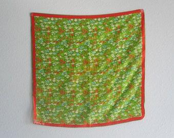 Gorgeous 60s Vera Neumann Green Floral Silk Scarf - Vintage Vera Silk Scarf with Glorious Flower Garden Print - Vintage 1960s Scarf