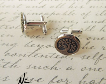 Silver Plated Antique Bronze Tree of Life Cuff Links