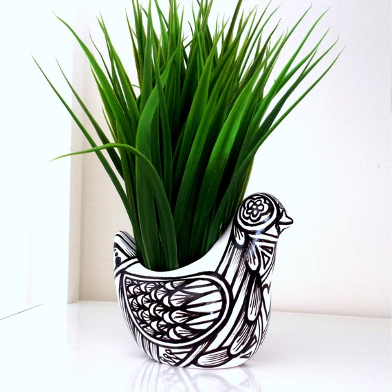 Ceramic Bird Planter Black White Painted Modern Folk Art Tattoo Day of the Dead Home Decor Vase Succulent Pot - READY TO SHIP