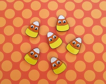 Halloween Pin - Candy Corn Pin - Candy Corn - Creepy Cute Pin - Halloween Jewelry - Halloween Party Favours - Spoopy Pin