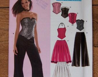 2005 new look pattern 6480 misses juniors teens  bustier corset pants skirts sz 3/4-13/14 uncut