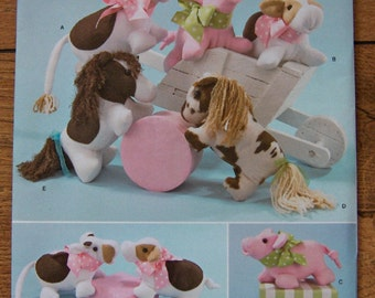 2010 simplicity pattern 2299 stuffed animals cow pig pony  uncut children toy