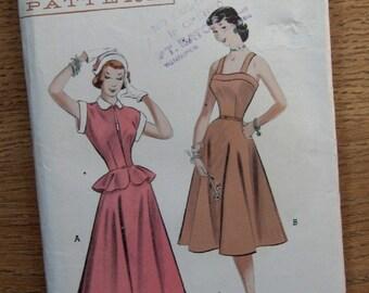 Vintage 40s/50s pattern Butterick 5755 Teen Bare-Top Dress and Peplum Jaacket sz 14 B32