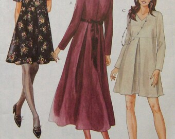 vintage 1994 McCalls pattern 7376 misses loose fitting dress front and back inverted pleat back zipper sz 8 neckline and sleeve variations