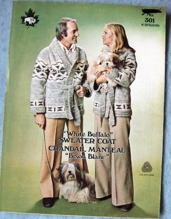 Vintage 1976 White Buffalo knitting pattern no. 301 - SWEATER COAT sz 34-44
