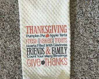 "Embroidered Towel, Kitchen Towel ""Thanksgiving"""