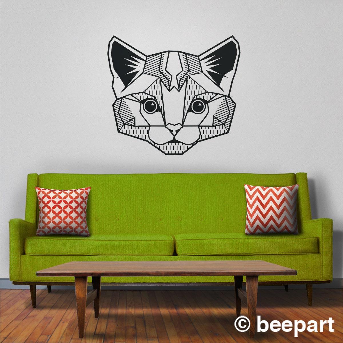 cat wall decal geometric cat art abstract feline wall