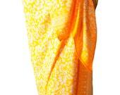 Beach Sarong Pareo Wrap Skirt Womens Clothing Batik Sarong Yellow Pareo Swimsuit Coverup Beachwear Gift for Her - Hawaiian Flowers Sarong