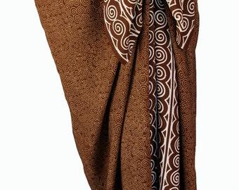 Beach Sarong Spiral Motif Wrap Skirt - Caramel Brown Beach Cover Up - Batik Pareo Swimsuit Cover Up - Beach Sarong Surfer or Swimmer Gift
