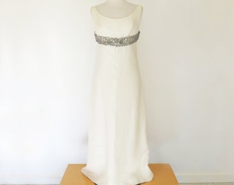 HONEYMOON // stunning 60s beaded empire bust cream wedding dress / S M