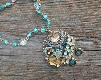 Blue Ballerina: a lush, upcycled necklace with gold and silver accents - 726