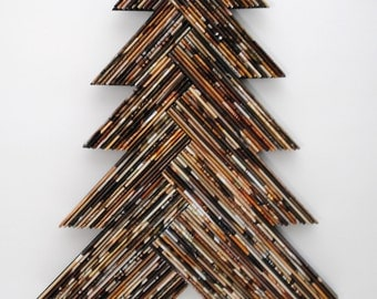 dark brown holiday TREE - wall art - made from recycled magazines, Christmas, unique, home decor, interior design, unique, handmade
