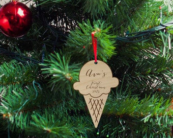 Ice Cream Silhouette Wood Ornament, Christmas Gift, Holiday Gift, Custom Engraved, First Christmas Baby Ornament