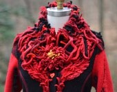 Red black boho eco fashion fantasy SWEATER COAT with felt flowers in size Large. Ready to ship