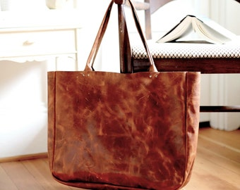 Lux Distressed Leather Oversized Purse