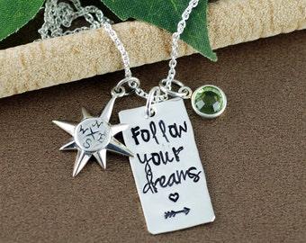 Graduation Necklace | Follow Your Dreams Necklace | Graduation Gift Necklace | Hand Stamped Necklace | Gift for Graduate | Compass Necklace