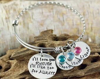 I'll Love you Forever Bracelet, Hand Stamped Bangle Bracelet, I'll Love you for Always Jewelry, Expandable Bangle, Charm Bracelet
