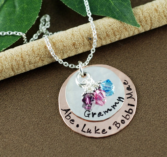 Grandmother Jewelry, Hand Stamped Grandma Necklace, Nana Necklace, Personalized Jewelry, Grandkids Name Necklace, Gift for Grandma