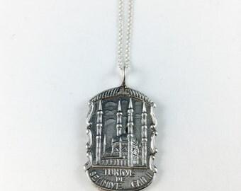 Turkey Charm, Turkey Necklace, Turkey Jewelry, Turkey Gift, Turkey Souvenir, Spoon necklace, Spoon Jewelry, Vintage Turkey. Wife Gift