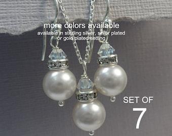 Set of 7 Bridesmaid Jewelry Set,  Bridesmaid Gift, Swarovski White Pearl Bridesmaid Jewelry Set, Wedding Jewelry Set, Maid of Honor Gift