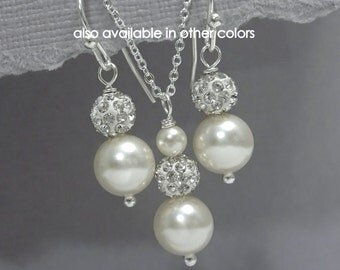 CUSTOM COLOR Bridesmaid Gift, Ivory Pearl Necklace and Earring Set, Bridesmaid Jewelry Set, Maid of Honor Gift, Mother of the Bride Gift