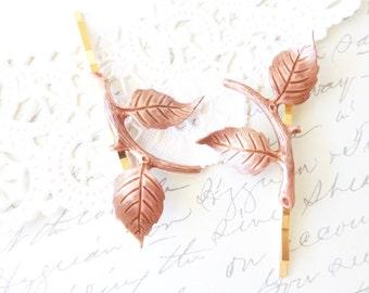 Rose Gold Leaf Branch Hair Pins - Leaf Branch Bobby Pin Set - Rose Gold Leaf Hair Pins - Woodland Hair Pins - Leaf Wedding Hair Pins