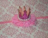 Hot Pink Crown Headband, Baby Tiara Headband, Rhinestone Crown, Toddler headband, Newborn Headband, 1st Birthday Crown, Pink Baby Crown