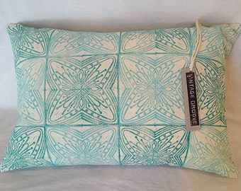 Hand Printed Throw Cushion Pillow Cover Hand Made Blue & Green on Unbleached Cotton