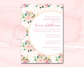 Pink Baby Shower Invitation, Printable Girl Baby Shower Invite, Blush Watercolor Floral Digital Baby Shower Invitation