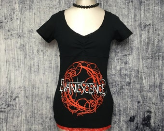 Evanescence Women's T-Shirt // Size X-Small // Reconstructed T-Shirt // Gothic Alternative Metal Music