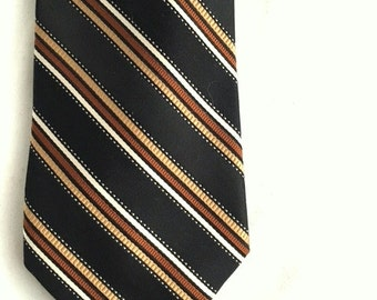 Vintage Mens Black and Tan Striped Tie - 1970s Classic Necktie