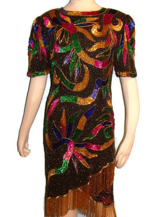 Vintage Black Multi Color Sequin Beaded Dress Sequin Vintage Dresses Vintage Beaded Dresses Vintage Evening Dresses Silk Dresses
