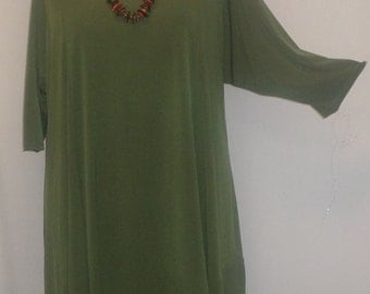 Coco and Juan, Lagenlook, Plus Size Top, Plus Size Asymmetrical Tunic Top, Olive Green, Traveler Knit Size 1 (fits 1X,2X)  Bust 50 inches