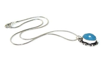 Faceted Blue Chalcedony Pendant   , Sterling Silver Pendant , Sterling silver Necklace