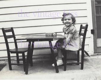 Child Girl Decoupage Paper Vintage Digital Photograph Download Tea Toy 1940 Shabby