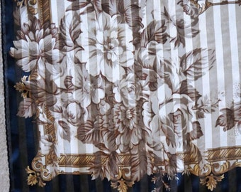 Vintage Scarf Liz Claiborne Designer Stripe Rose Floral Sheer Black Brown Gold
