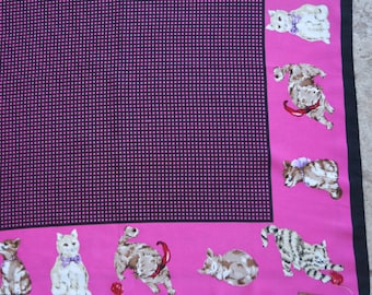 Vintage Silk Scarf I Love Cats Collection XIIX Hot Pink Black Check Square
