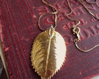 Vintage Gold Leaf Pendant Necklace Long Vintage Snake Chain Dipped Leaves Costume Jewelry Layering STyle Necklace