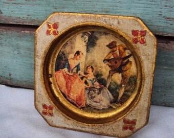 Vintage Italian Florentine Ash Tray Ashtray Victorian Picture Gold Gilt Toleware Mid century Ashtray