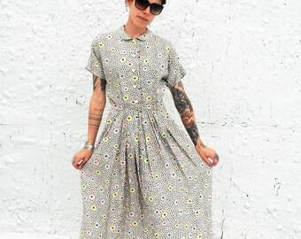 Vintage 1950s Atomic Print Starburst Day Dress XS/S