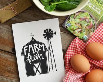 Farm Fresh, Barn, Windmill, Farmhouse decor, Rustic Home Decor, Farmers Market, Homemade,  Kitchen Art, Kitchen Decor,  5x7, 8x10, 11x14