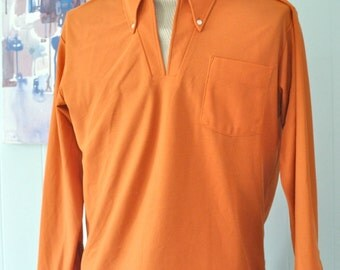 Ultimate Polyester Lounge Shirt with Faux Turtle Neck Burnt Sienna Orange Brown Red Tan Beige LARGE