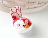 Red and White Bird Pincushion Floral Pin Keep Small Pin Cushion Red Handmade Pincushion