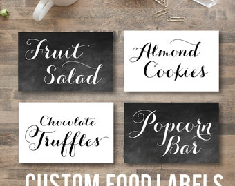 CHALKBOARD or white SCRIPTED food labels - diy printable