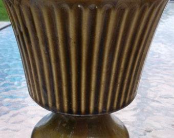 McCoy Roseville Floraline Glossy Green Ribbed Pedestal Vase Planter 473