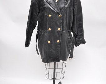 vintage leather trench coat vintage leather coat womens coat pea coat peacoat oversized bomber