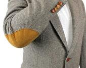 Vintage Elbow Patch Blazer 42L Gray Wool Herringbone Tweed Professor Jacket Coat Free US Shipping