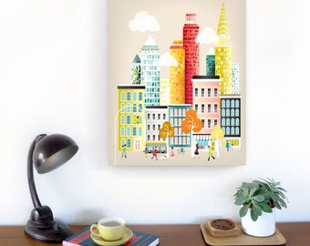 New York Skyline Wall Art, Manhattan Canvas Print, Cityscape illustration, Home Office Wall Decor and Kid's room Nursery, Style: LCNY01