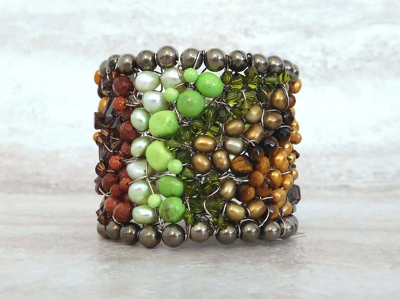 Large Wired Cuff Bracelet in Lime Neon Green & Chocolate Brown Semi Precious Beads by Sharona Nissan (Sample Sale)